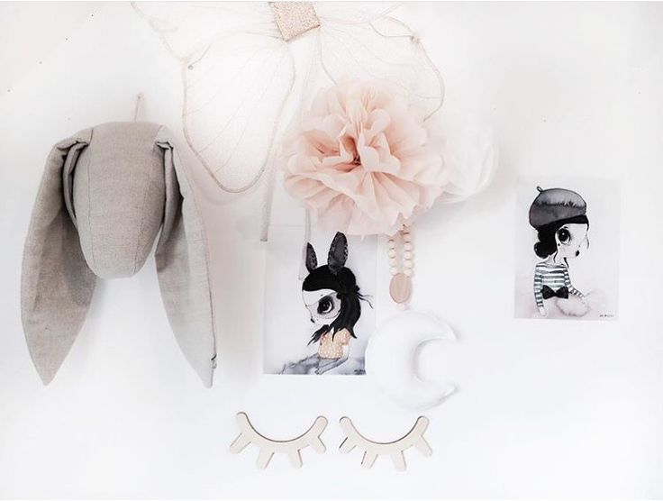 So much goodies in the one image by the creative @mreiness!  love much? [fabels animal heads are available online, including the Mrs Mighetto prints] #hellolittlebirdie #onlineboutique #interiorstylistforkids #kidsroom #kidsdecor #kidsinteriors #pompom #animalheads #rabbit #mrsmighetto #numero74 #girlsroom #beautiful