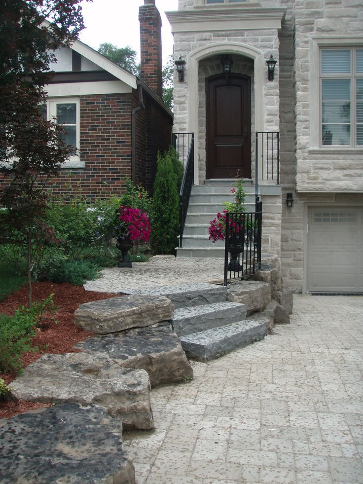 armour stone four 4  stairs front entrance | Interlocking tumbled stone driveway and flagstone steps, drive lined ...