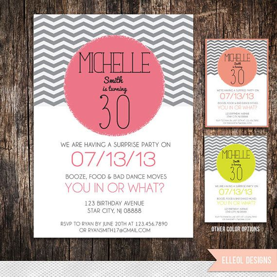 21st, 30th, 40th, 50th, 60th Surprise chevron Birthday Party Invitation on Etsy, $18.02 AUD