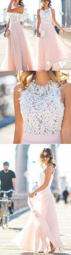 Online Junior Unique Long Prom Dress Formal Blush Pink Chiffon Cheap B – SposaDesses