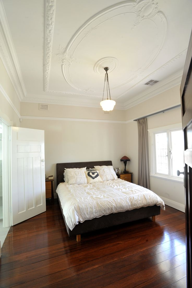 Main bedroom with beautiful polished jarrah boards & classic ceiling rose #mthawthorn #amerex #perth #homerenovations