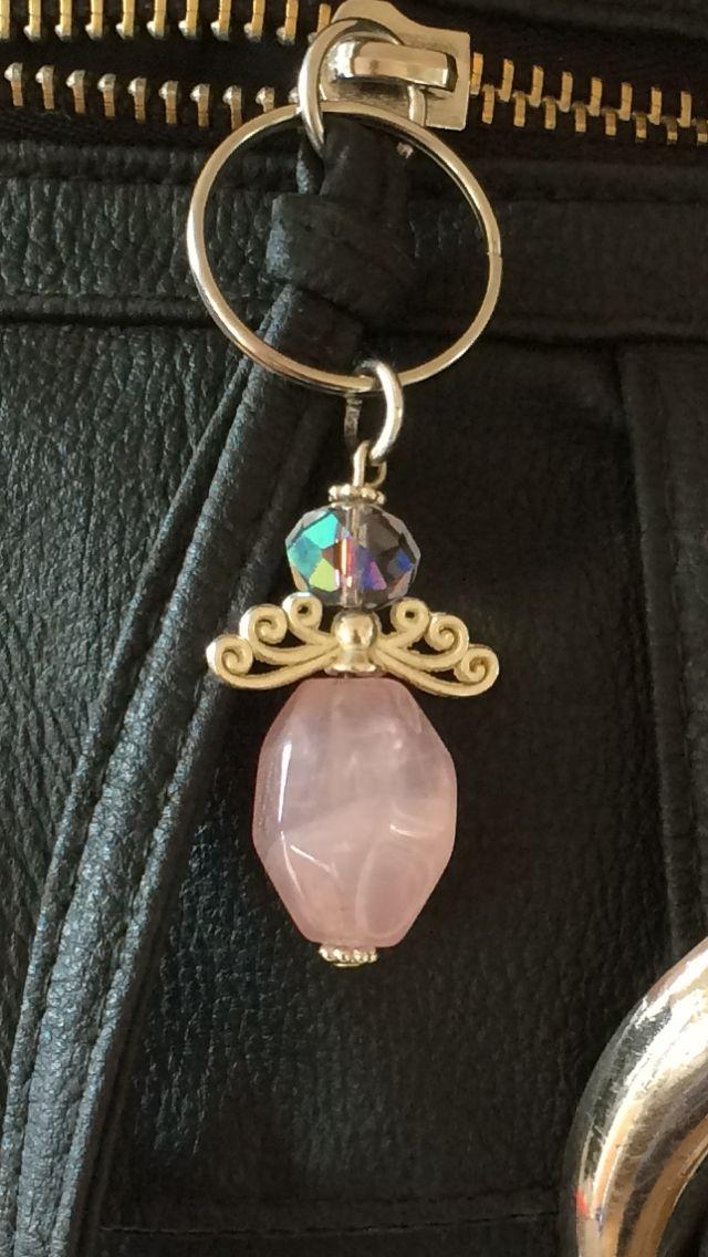 Rose Quartz Angel bag charm Brings love & protection my way