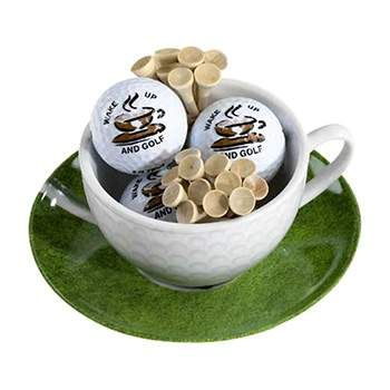 Golf Gifts Cappuccino Cup, Saucer, Balls & Tees at golfessentials.in
