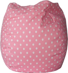 Pink Polka Dot Fabric Bean Bag Chair.