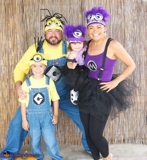 Niecee: Mom: Niecee Daughter: Skylar Both are the purple minions. Used puffy paint and black felt for the M emblem. Made the eyes from Mason jar lids, felt and puffy paint....