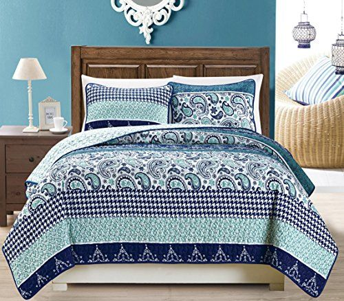 3-Piece Fine printed Quilt Set Reversible Bedspread Coverlet KING SIZE Bed Cover (Navy Blue Paisley)