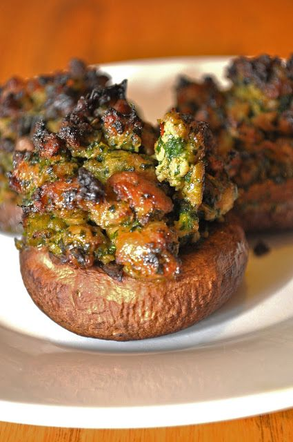 Paleo stuffed mushrooms - with sausage, spinach, onion.