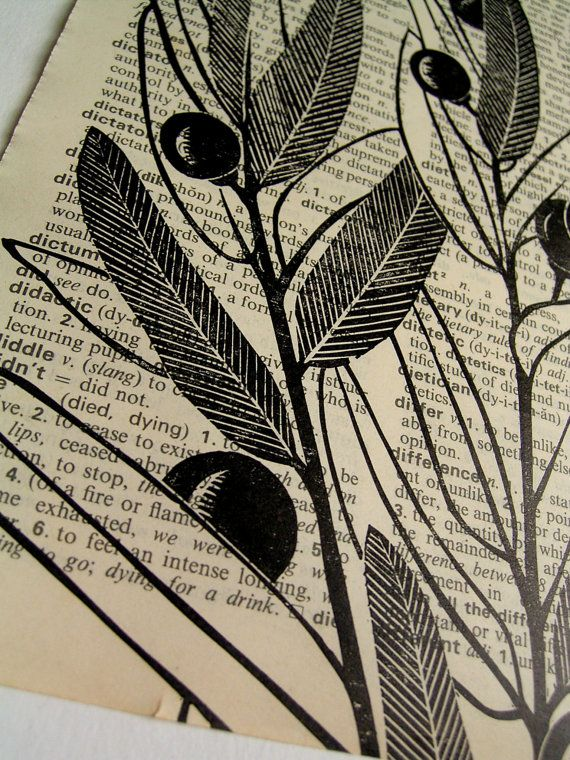Berries - linocut print on dictionary page I like the idea of printing on alternative surfaces.