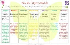 FREE printable weekly prayer schedule for your War Room or Prayer Closet