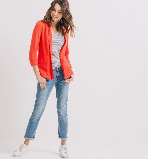 d017e9a94c8 Veste de tailleur fluide Femme rouge - Promod