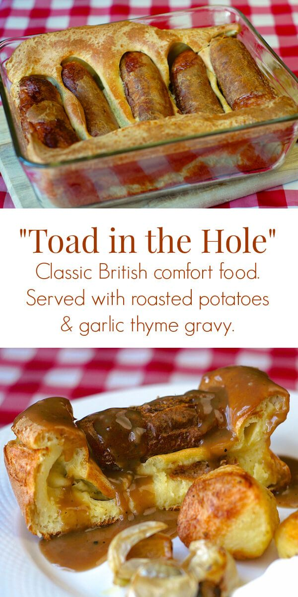 Toad in the Hole is a much loved British comfort food dish comprised of sausages and Yorkshire Pudding. I love to serve it with roast potatoes and gravy.