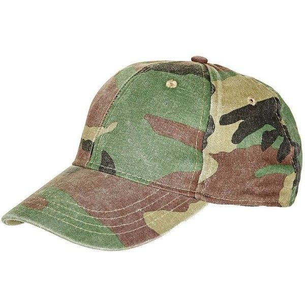 TopShop Structured Camo Cap ($10) ❤ liked on Polyvore featuring accessories, hats, cap hats, camouflage cap, topshop hats, camoflage hat and camo hats