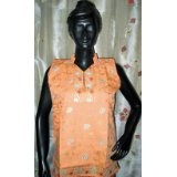 Womens Embroidered Cotton Orange Kurti Tunic Top Medium Size Final Sale (Apparel)  #Tank Top