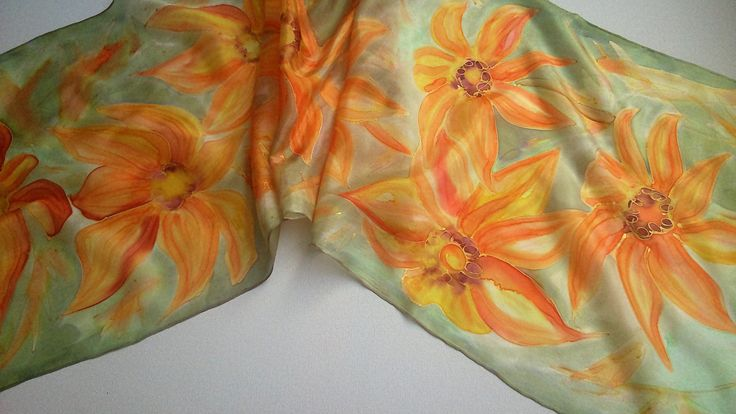 Hand Painted Floral Silk Scarf for Ladies. Summer Style Flowers in Orange, Apricot, Yellow, Sage. Foulard 14 x 51 in Short Scarf. Gift Idea by SilkLetters on Etsy
