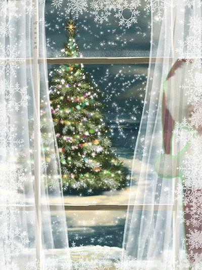 Анимация: Дед Мороз в окошке из категории Новогодние и Рождественские открытки
