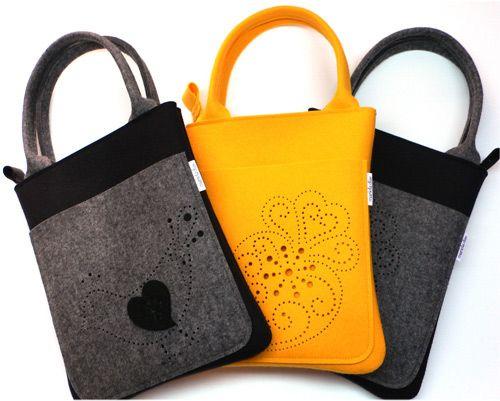 I love this bag shape! #felt #handles #purse