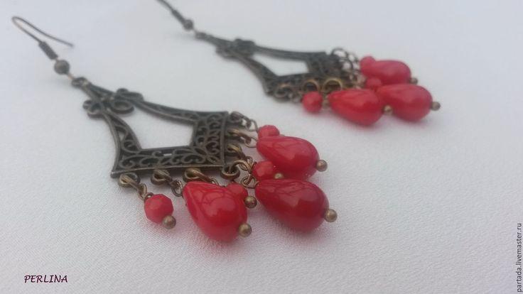"""Купить """"Париж"""" красные серьги из коралла - серьги французский шарм, винтажные серьги купить"""