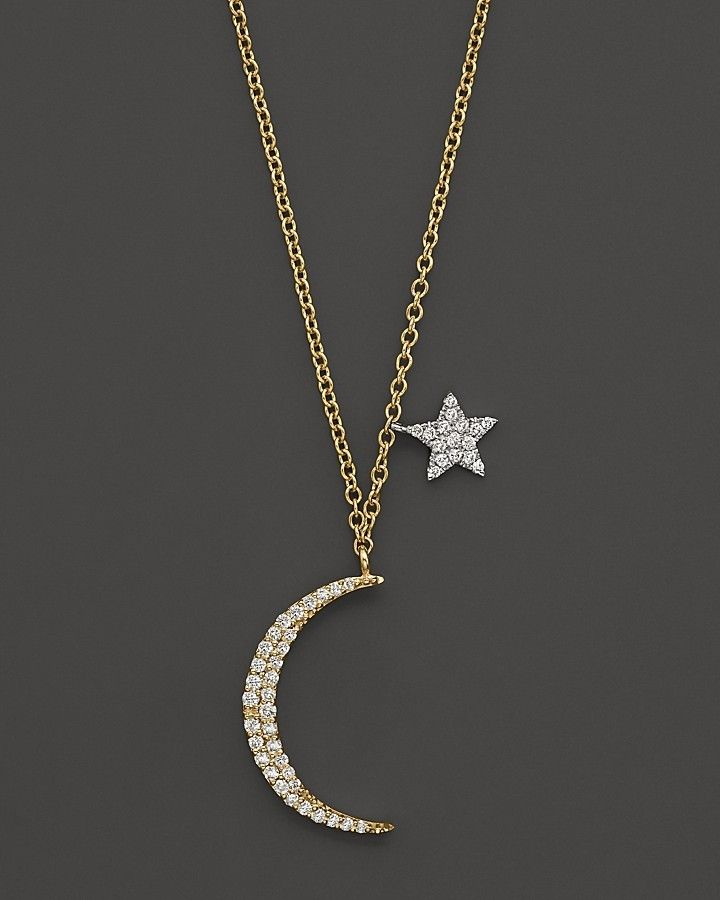 """Meira T Diamond Moon Necklace in 14K Yellow Gold, .22 ct. t.w., 16"""" on shopstyle.com"""