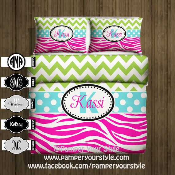 Chevron Bedding - Chevron and Zebra Monogrammed Bedding - Green and Hot Pink -  Personalize with Name or Monogram - Pick Your Color and Size...