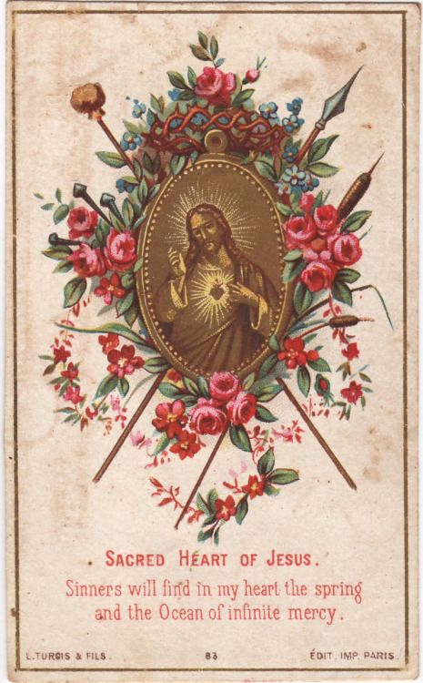 Sacred Heart of Jesus. Sinners will find in my Heart the spring and the ocean of infinite mercy. My Child, take up My yoke upon thee; for My yoke is sweet, and My burden light. Love is the spirit of My service: and love finds all things easy. My...