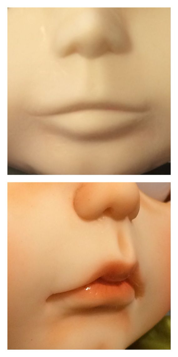 Before and after close up of a Blythe customization. #Blythe #doll #mouth #lips #carving #faceup By Mayra (Muñeca) Galland
