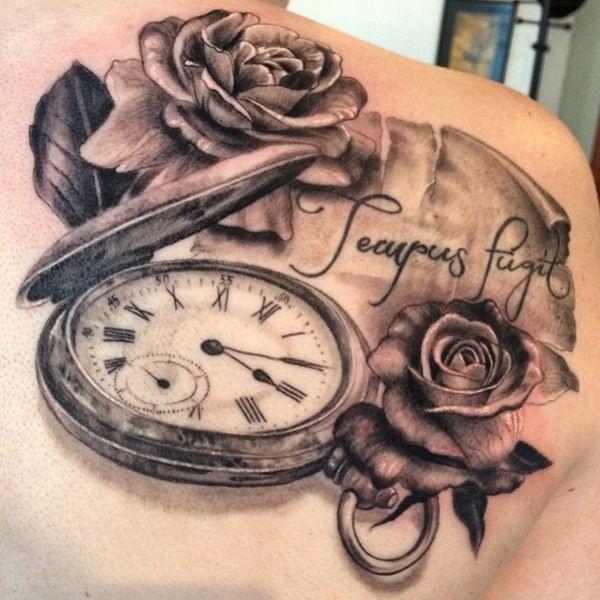 rose with watch tattoo - 40 Eye-catching Rose Tattoos
