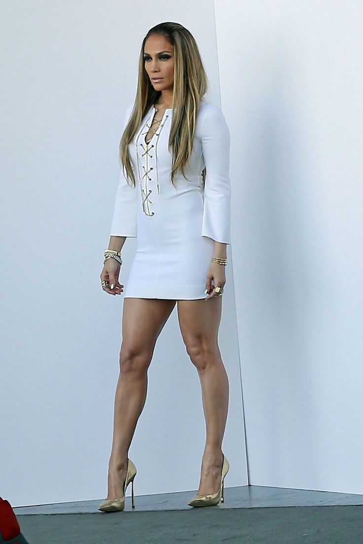 Jennifer Lopez In White Dress On The Set Of American Idol In Hollywood -8072