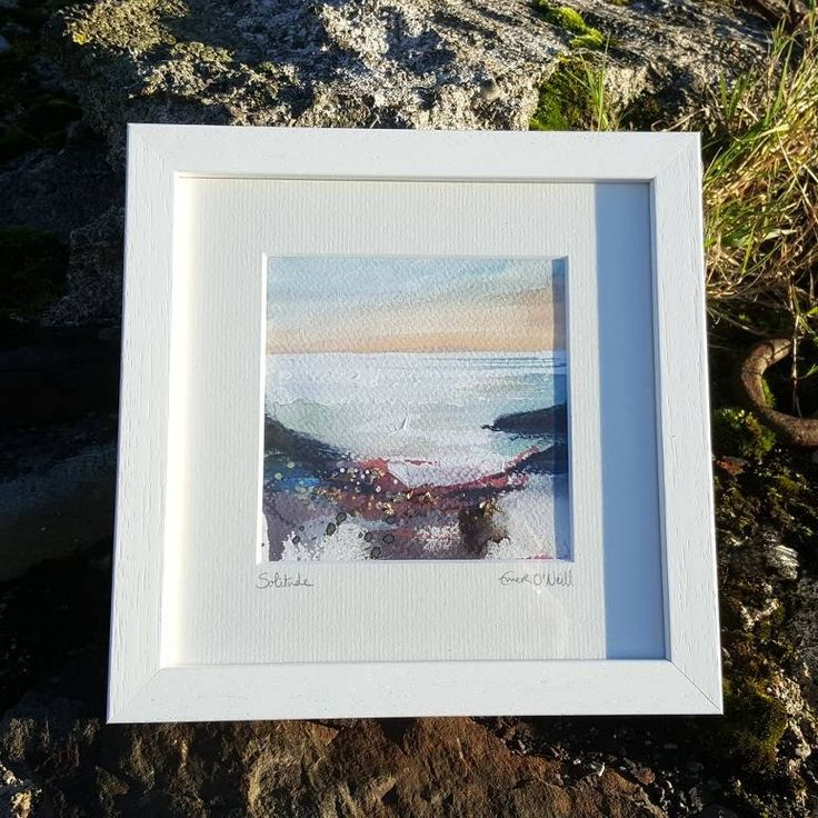 'Solitude' is an acrylic & mixed media Irish Seascape with touches of 24ct gold leaf. Painted on 5x5* 300gsm cold pressed watercolour paper, which has been mounted in a 8x8* handmade frame. *approx measurements. €65 P&P I use my contemporary Irish art to connect my sea loving custo
