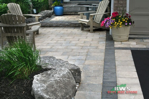 #outdoor #entrance: Best Way Stone > Paver: Strada Antico (Beige Mix) / Accent: Strada Nova (Ultra Black) available at our store at 3500 Mavis Rd, Mississauga, ON L5C 1T8