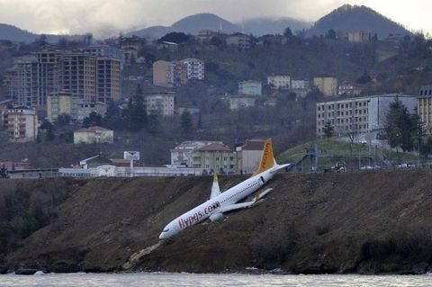 TERRIFYING: Plane Dangles off Cliff After Skidding off Runway in Turkey