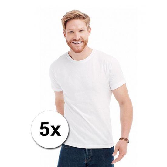 Voordelige witte t-shirts 5 stuks  5-pak voordelige witte 150 grams heren t-shirts korte mouw met ronde hals. Dat is echt goedkoop! Voordelige witte t-shirts voor heren in een voordelig 5 stuks pakket.  EUR 17.50  Meer informatie
