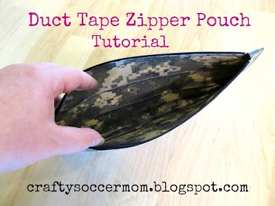 Duct Tape Zipper Pouch Tutorial @ Craftysoccermom.blogspot.com