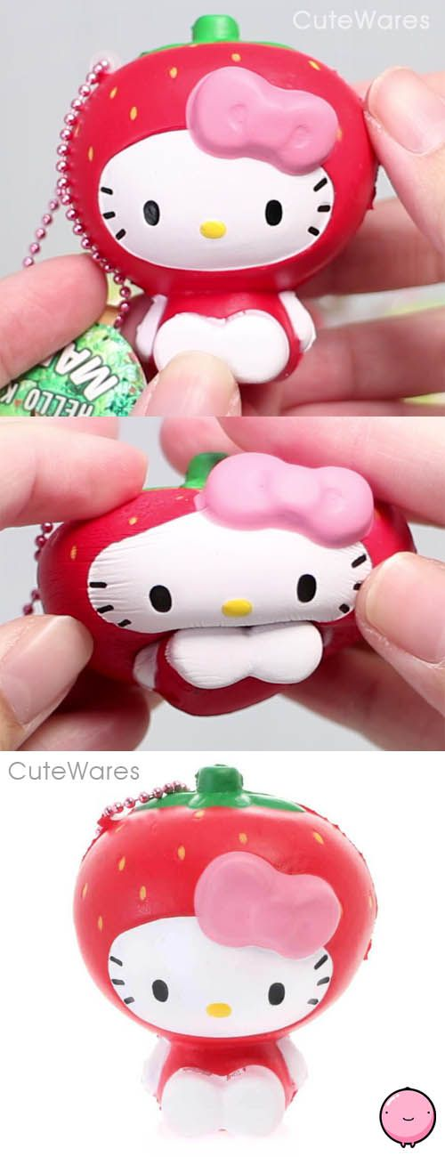 Sanrio Hello Kitty Red Strawberry Fruit Costume Mascot Soft Squeeze Squishy Cellphone Charms