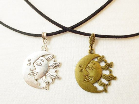 Cosmic sun moon necklace sun and moon by 10dollarjewellery on Etsy #sun #moon #jewelry #etsy #bronze #silver
