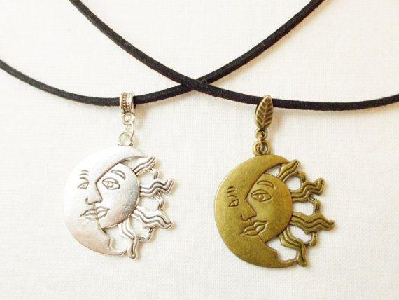 Cosmic sun moon necklace sun and moon by 10dollarjewellery on Etsy #sun #moon #jewelry #etsy #bronze #silver