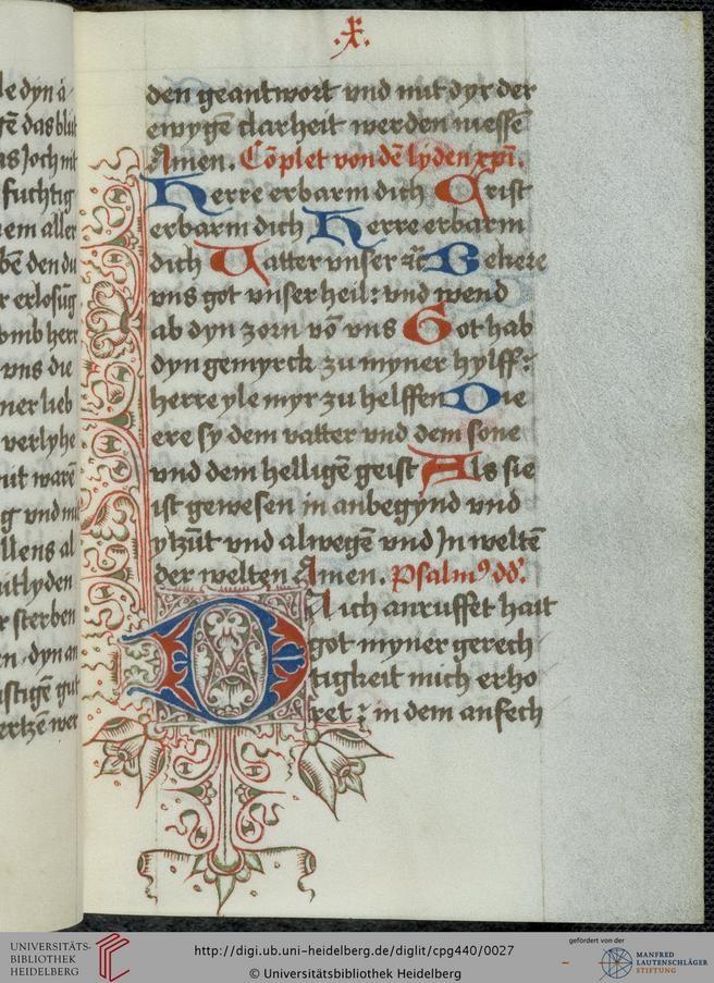 Cod. Pal. germ. 440 Tagzeiten vom Leiden Christi und Tagzeiten Mariä — Frankental (Pfalz), 1501