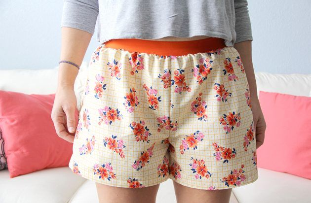 Perfect Summer Pj's. How to make easy women's boxer shorts (with the free printable pattern).