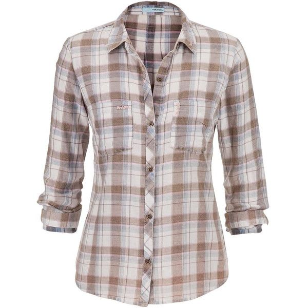 maurices Plaid Button Down Shirt In Blue And Taupe found on Polyvore featuring tops, beacon blue, plaid button up shirts, long tops, blue shirt, blue top and button up shirts