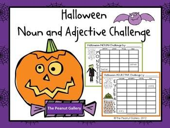 """What a SPOOKTACULAR way to have a little fun with nouns and adjectives this Halloween! My students love anything that I call a """"challenge,"""" and this certainly is one! This activity is a great way to practice nouns, adjectives, thinking skills, synonyms, vocabulary development, thesaurus usage, etc. Eight noun grids and eight adjective grids are included. $3.25"""