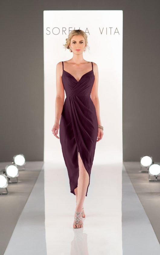 8776 Midi-Length Bridesmaid Dress by Sorella Vita Midi-Length Bridesmaid Dress Style 8776 - Aubergine
