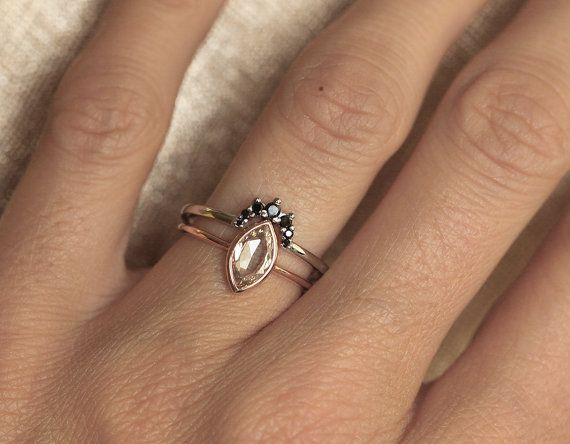 Black Diamond Crown Ring. Looks gorgeous with champagne diamond engagement ring. IF YOU WANT A CUSTOM ring please contact me before purchase. This ring