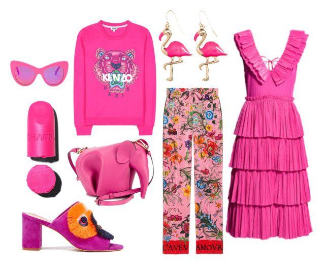 """pink"" by vanessawblogg on Polyvore featuring Kenzo, Loewe, Gucci, STELLA McCARTNEY and Loeffler Randall"