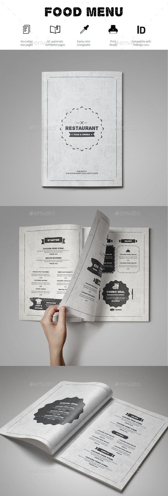 Food Menu Template InDesign INDD #design Download: http://graphicriver.net/item/food-menu-template/13914009?ref=ksioks