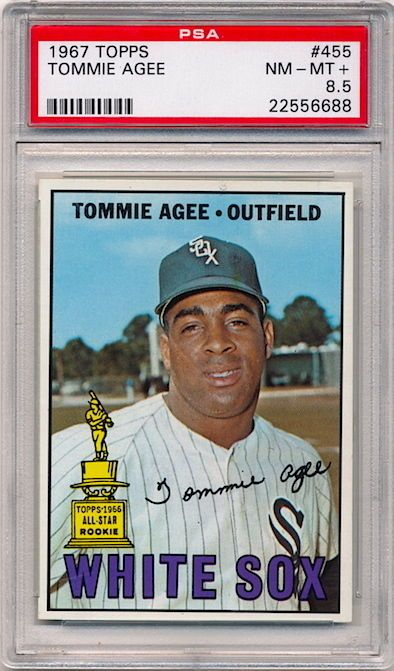 Chicago White Sox Tommie Agee 1967 Topps #455 Baseball Card PSA 8.5 NM-MT+