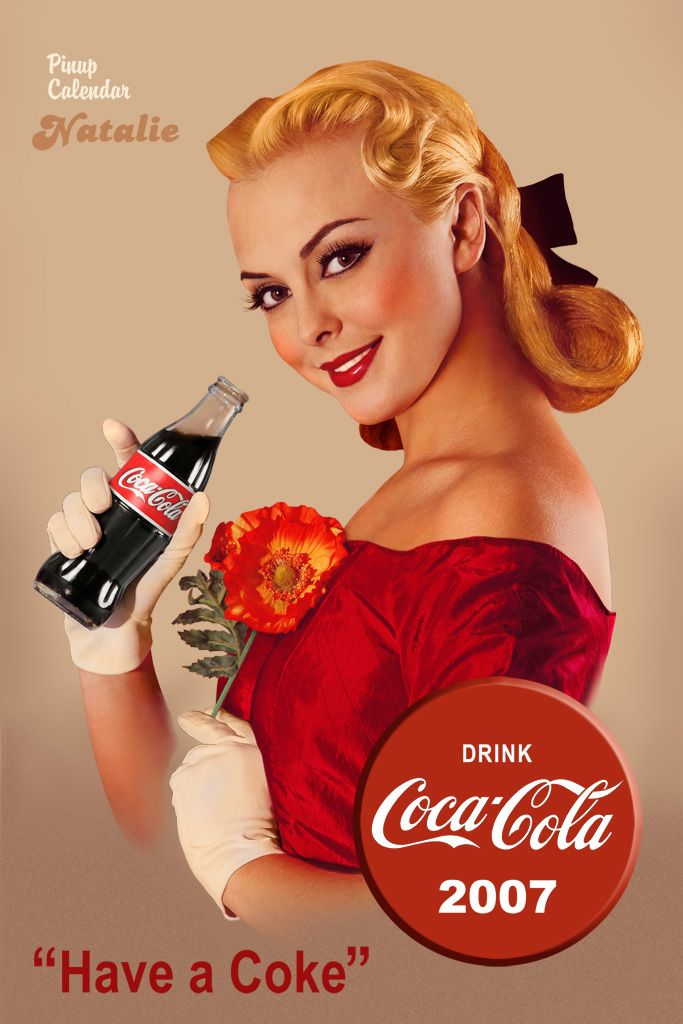 """The PinUp Art: """"Have a Coke"""" Coca Cola Pin Up...This model reminds me of my cousin Karen Ann who has perfect skin and perfect EVERYTHING. :) In fact, I'd not be surprised if she is a secret model and posed for this!"""
