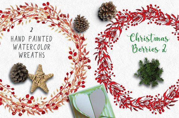 Christmas wreaths of red berries II by Lolly's Lane Shoppe on @creativemarket