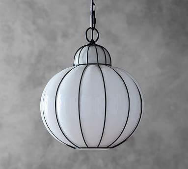 Camille Milk Glass Caged Pendant, Bronze