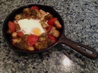 Skillet Potato, Tomato and Egg Bake with Cilantro Jalapeno Pesto | The ...