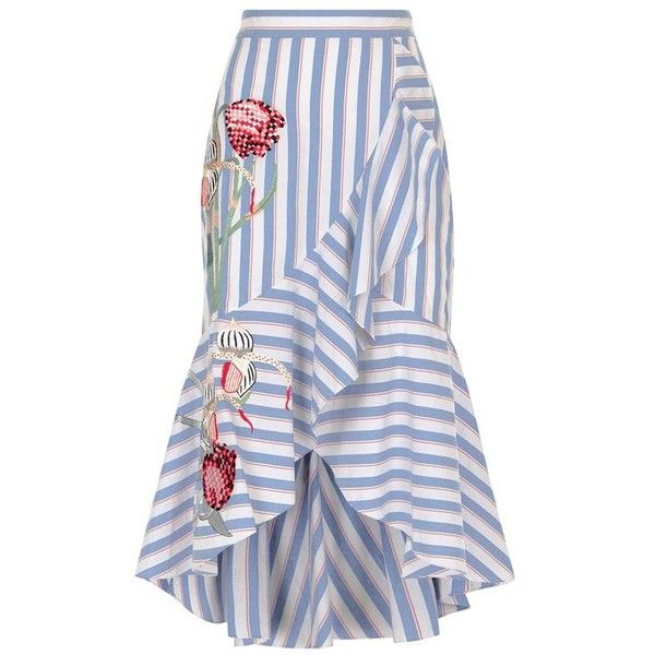 Temperley London Bella Skirt (14.285 CZK) ❤ liked on Polyvore featuring skirts, stripe, cotton knee length skirt, striped cotton skirt, flower skirt, floral skirts and blue skirts