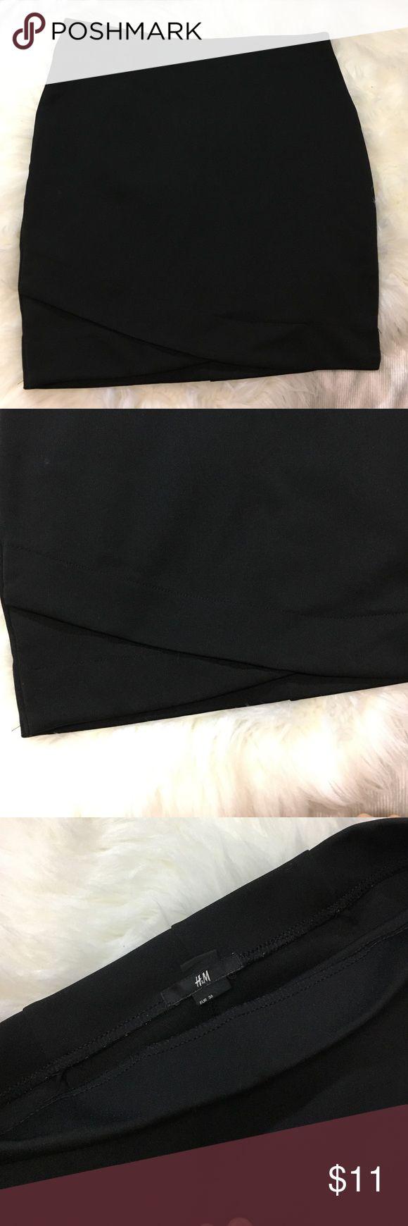 H&M small mini black skirt. Mini skirt. Tight and stretchable. Back: tiny rip (mend/sew) size 6 H&M. Small H&M Skirts Mini